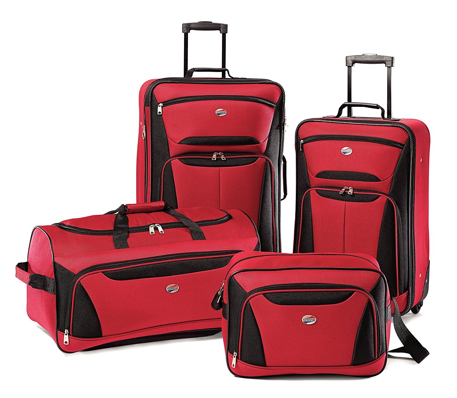 Get Quotations American Tourister Luggage Fieldbrook II 4 Piece Set Red Black