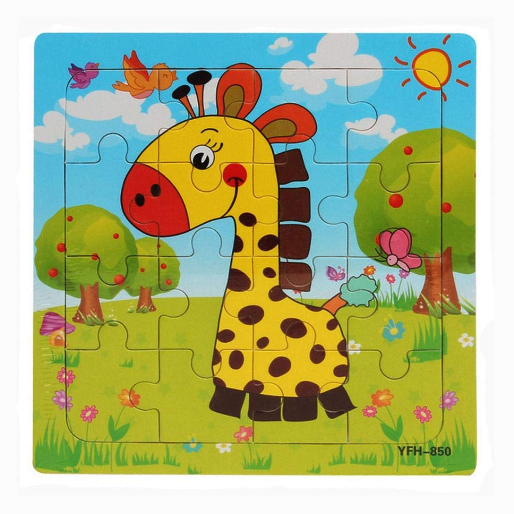 Gbell 16Pcs Wooden Puzzle Set for Preschool Toddler, Cute Animal Jigsaw Board Educational Toy Gift for 1-3 Year Old Baby Girl and Boy Kids