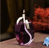Round Glass colourful tabletop oil lamp garden torch with ibreglass wicks and new wick