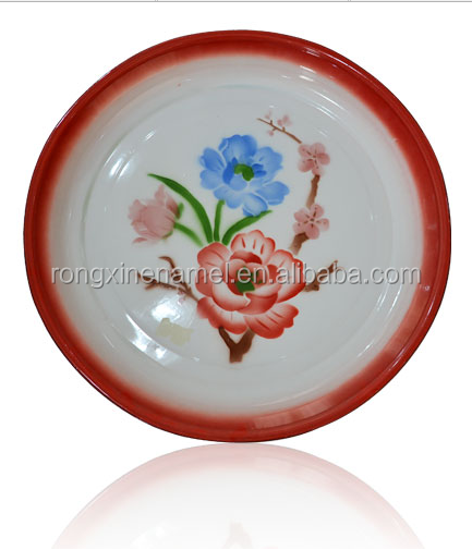 Enamel serving tray, Steel round tray