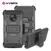 IVYMAX hybrid 3 in 1 PC TPU case cover with rugged swivel belt clip holster for MOTO X4