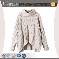 custom rolled neck long sleeves oversized aryan cable knitted jumper