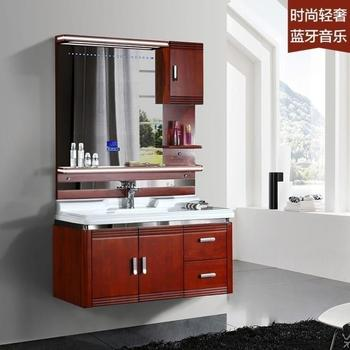 Environmental protection new style oak bathroom vanity with bluetooth music plqyer and hydraulic buffer hinge
