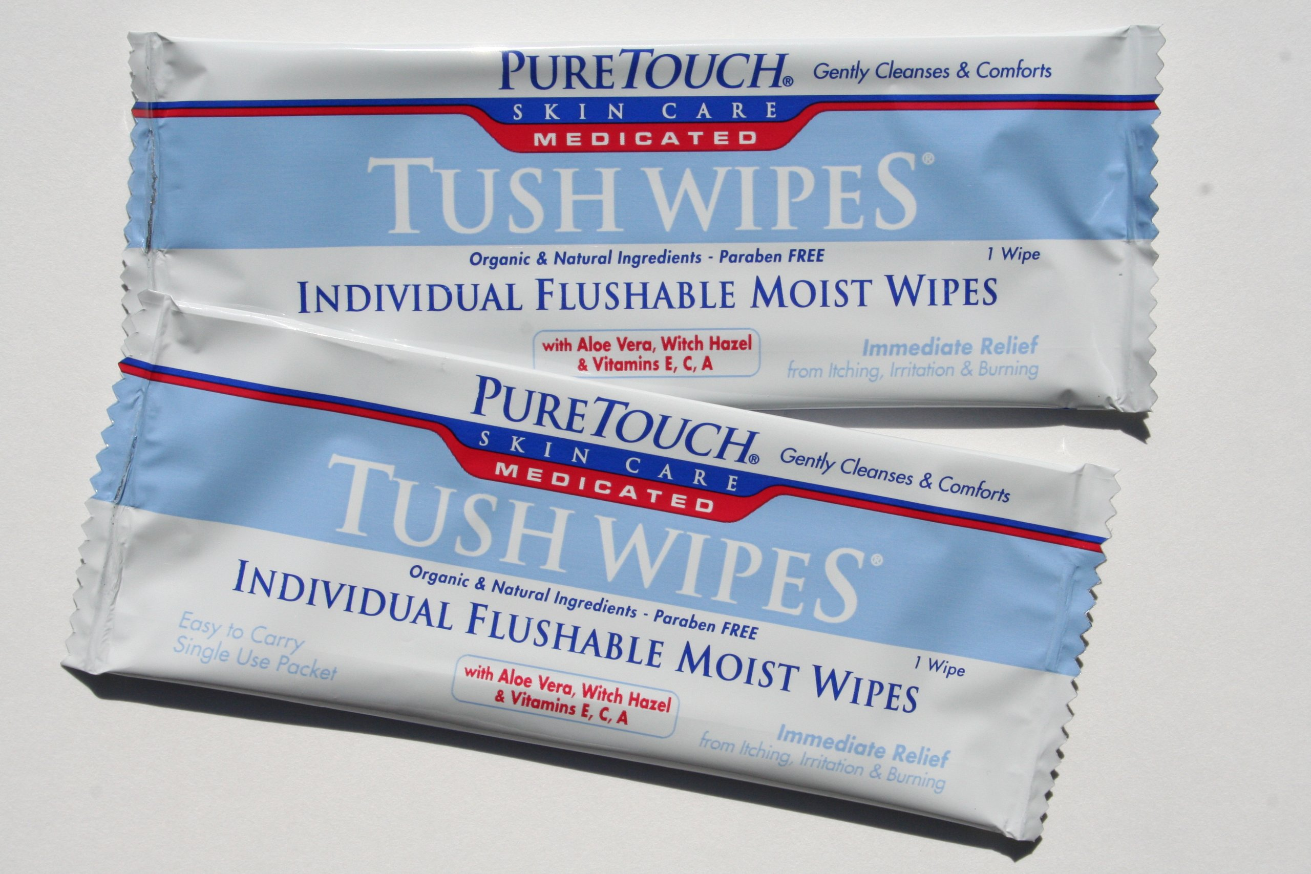 PureTouch MEDICATED Tush Wipes for adults Individual Flushable Moist Wipes BULK 350 Single-Use-Packets