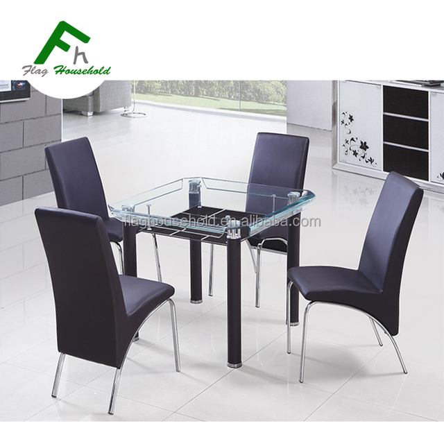4 Sides Bending Glass Top Metal Legs Dining Table Set With PU Chairs
