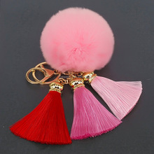 Manufacturer Wholesale Colorful Korea Tassel Keychain With Rabbit fur ball PomPom Keyrings for lady Car bag Accessories