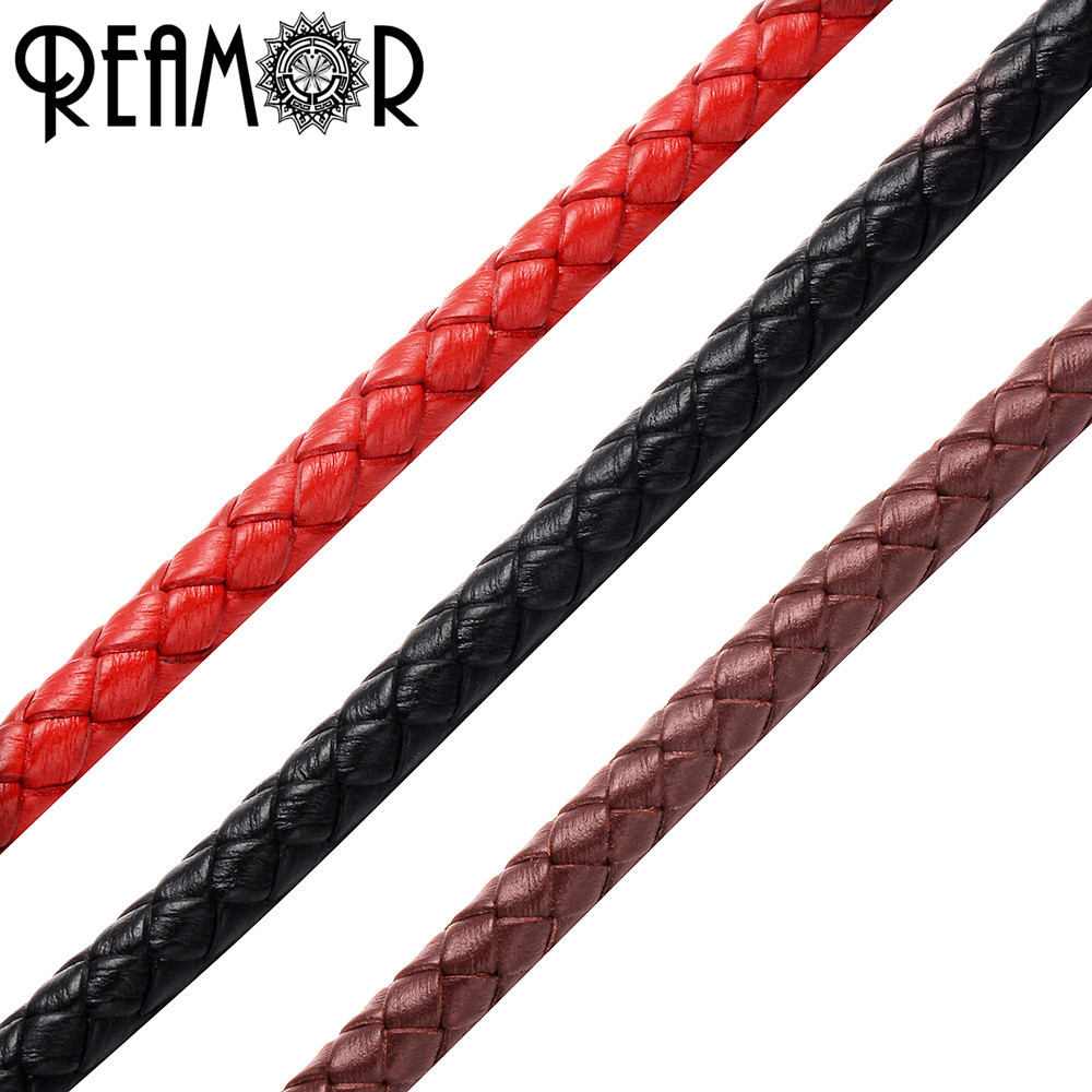 REAMOR 5mm Braided Genuine Leather Rope String Cord For Bracelet Jewelry Craft Making DIY Findings Wholesale