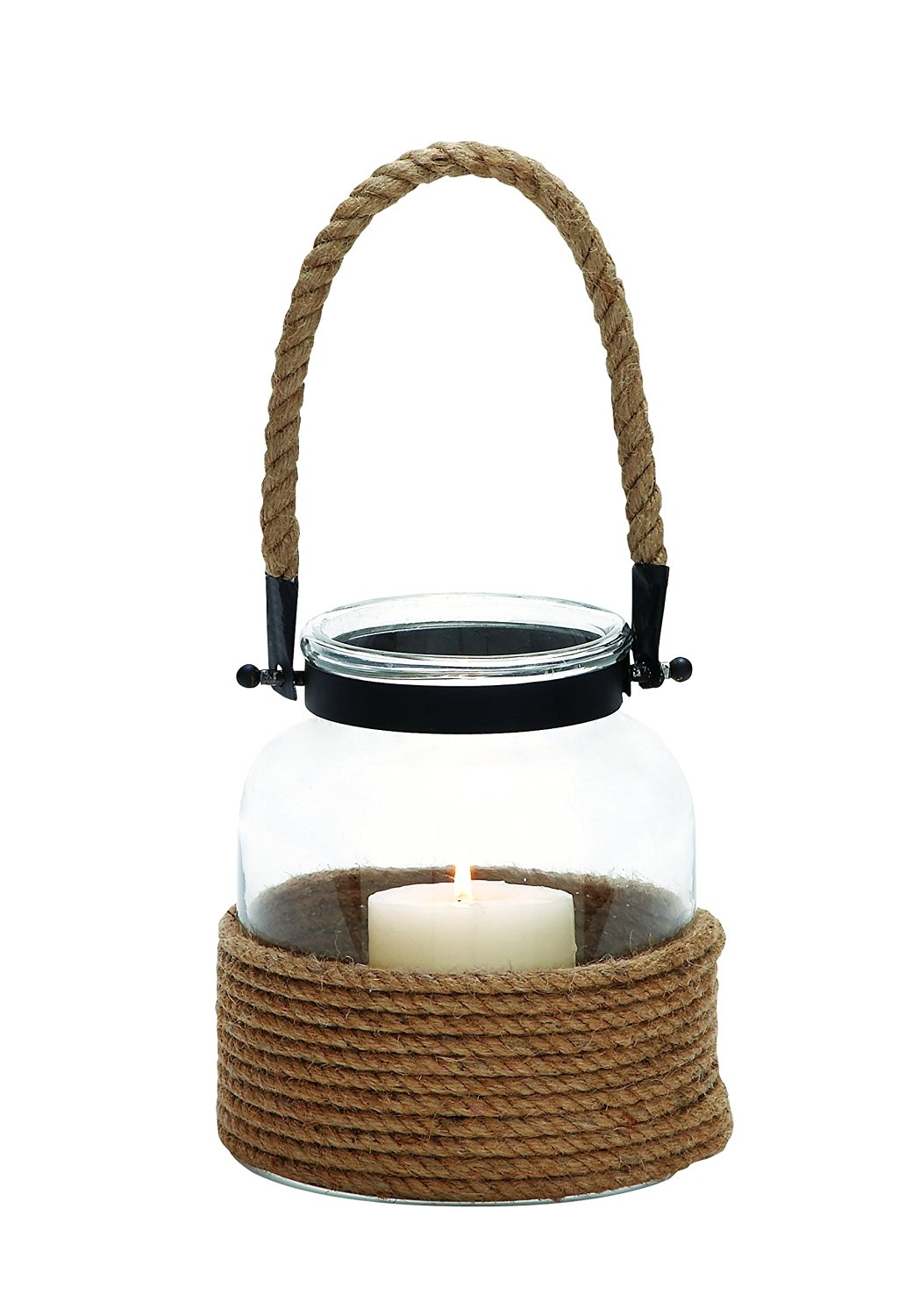Plutus Brands UE2547 Contemporary Designed Glass & Metal Lantern with Rope Handle