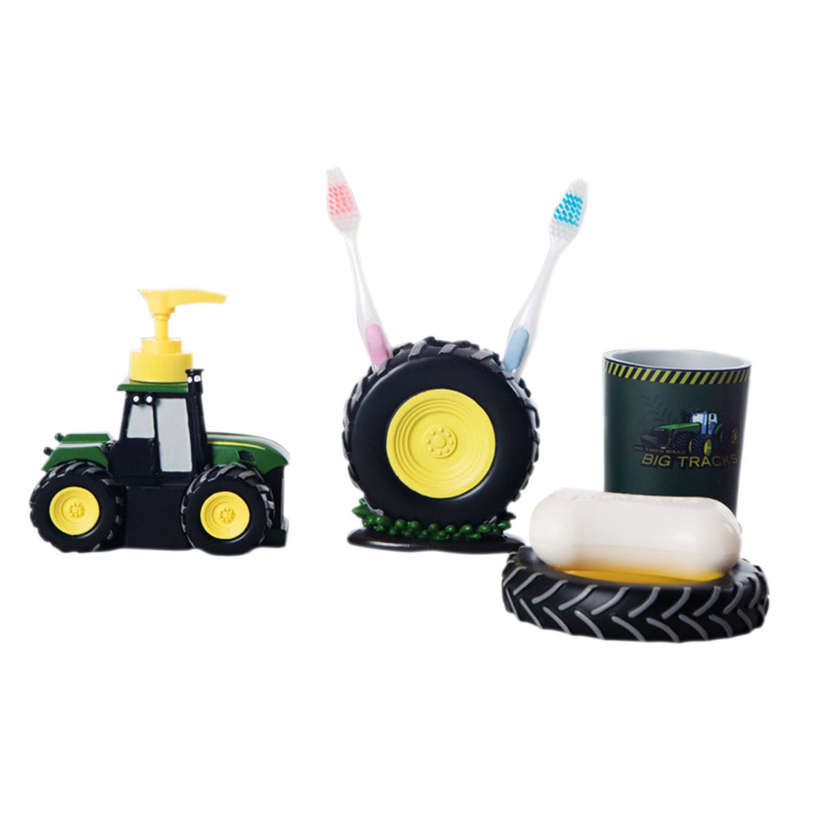 4 Pcs Cartoon Bathroom Accessories Cute Tractor Bathroom
