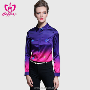 Tops High Quality Latest Design Fashion Women Models Silk Blouse