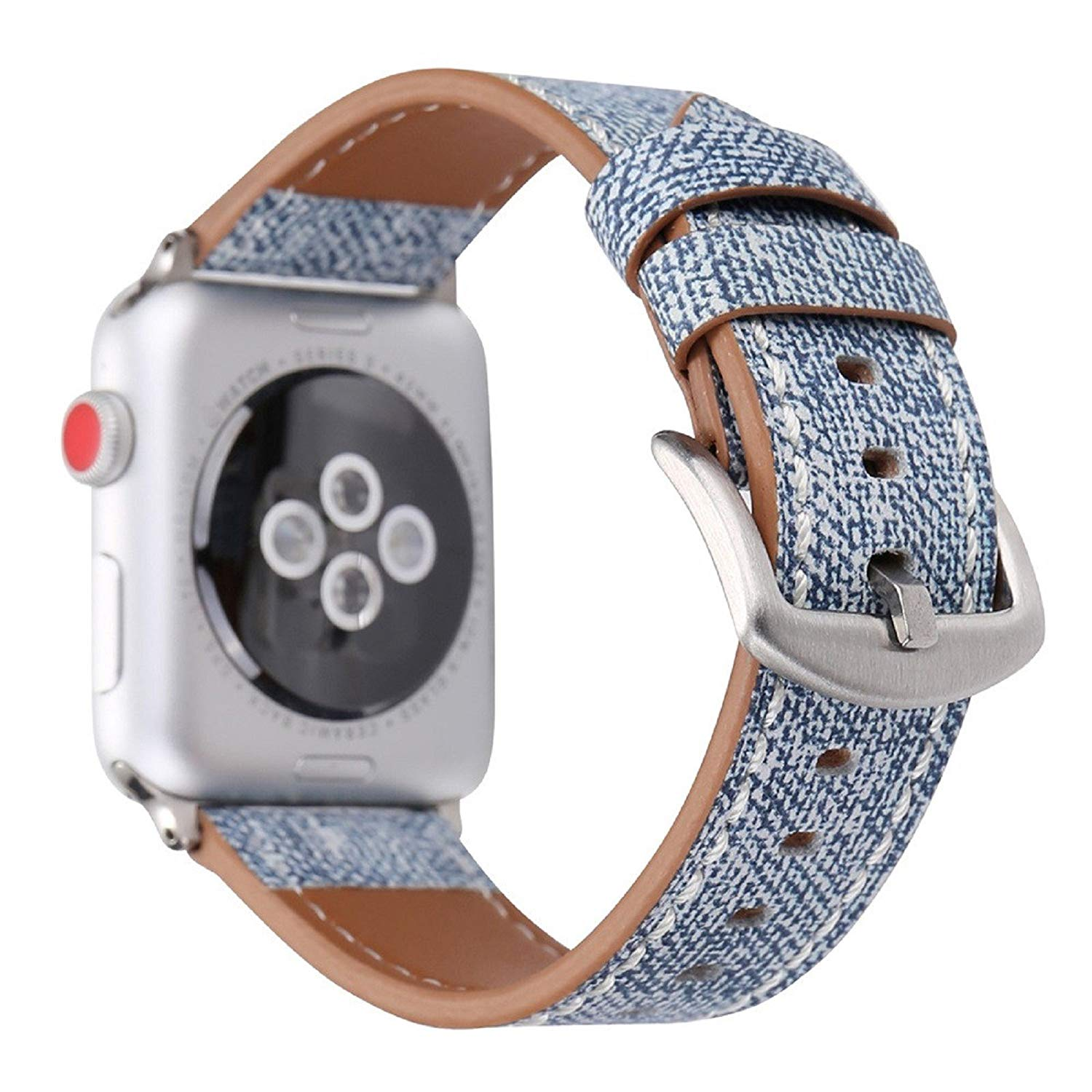 Owill Durable Cowboy Pattern Leather Strap Replacement Watch Band For Apple Watch 42MM, Suitable Wrist 160-225MM (Light Blue)