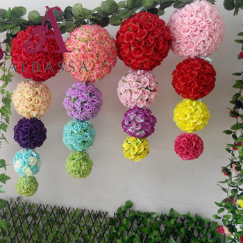 Wholesale Artificial Flower Balls Silk Rose Flowers Hanging Wedding