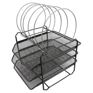 house hold home storage metal mesh foldable stack able desk organizer