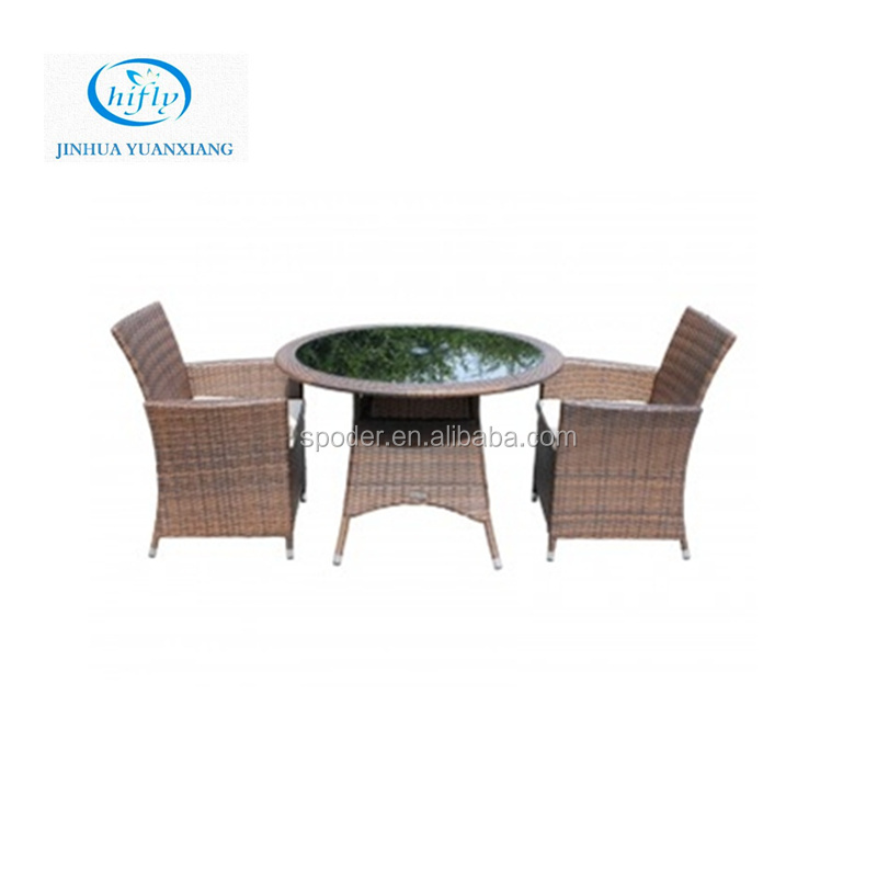 YuXiang cheap small round table with 2 chair wicker furniture