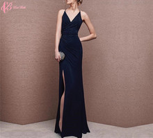 2017 New Black Party Dress Women Night Dress Sexy Long Slit Maxi Club Dress