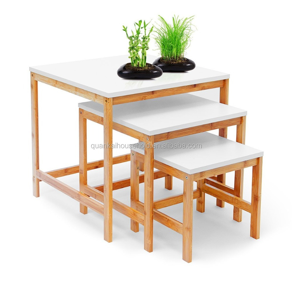 Set of 3 Side Bamboo Tables Nest of Three Tables