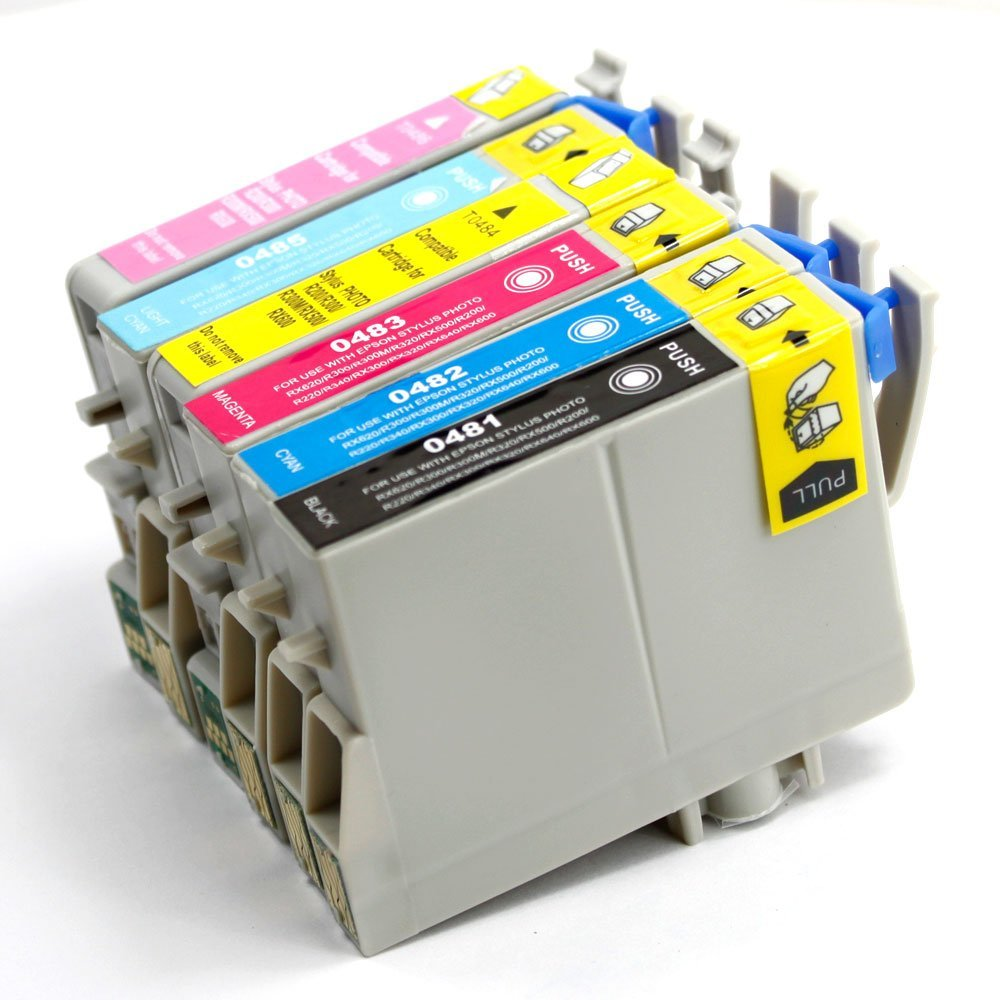 6 Pack Remanufactured Inkjet Cartridges for Epson T048 #48 T048120 T048220 T048320 T048420 T048520 T048620 Compatible With Epson Stylus Photo R200, Stylus Photo R220, Stylus Photo R300, Stylus Photo R300M, Stylus Photo R320, Stylus Photo R340, Stylus Photo R500, Stylus Photo R600, Stylus Photo