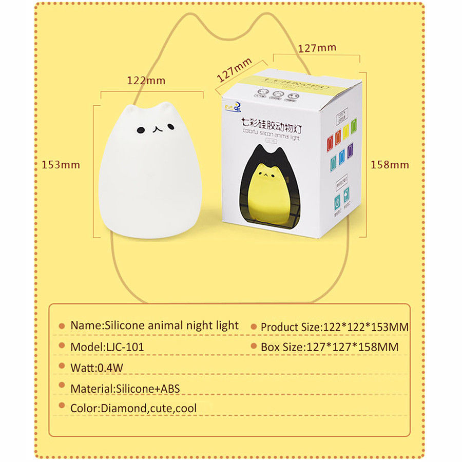 Wholesale cat shape soft silicone baby led night light lamp