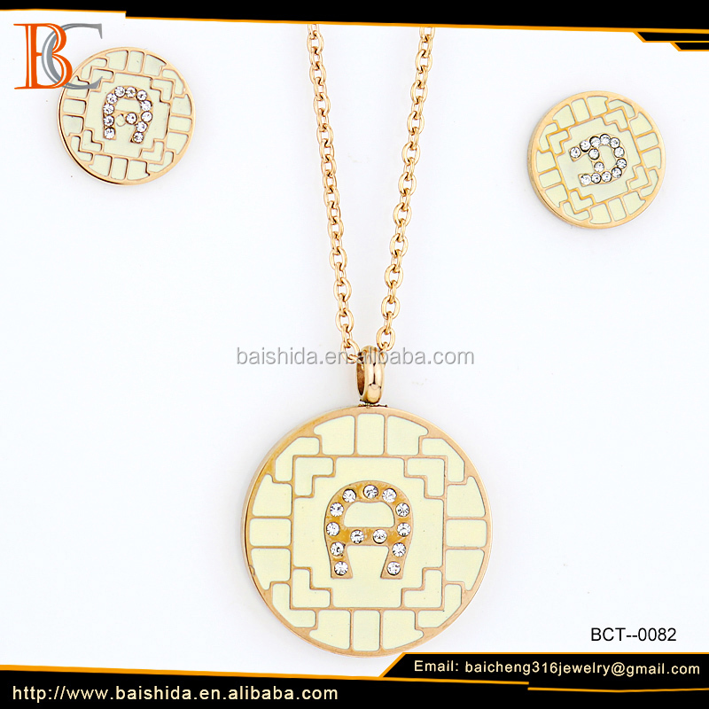 New design wholesale price women accessories beautiful gold necklace and earring 316l stainless steel, Charm jewelry set