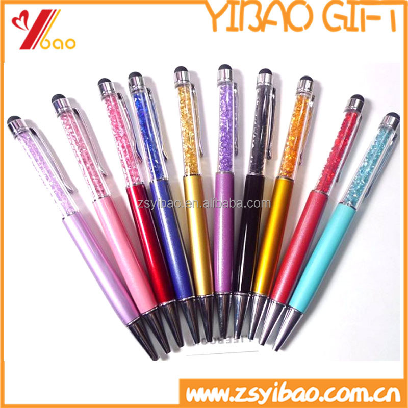 Promotional custom double functional touch screen plastic ball point pen with crystal