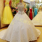 Ball Gown Long Train Crystal Beaded Puffy Floor Length Custom Make Long Formal Bridal Gown Designs BW354 luxury wedding dress
