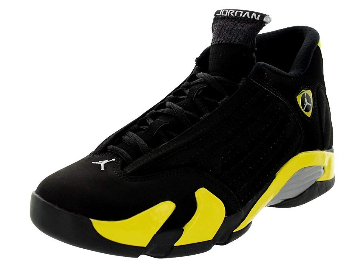 49665d03d89 Get Quotations · Jordan Air 14 Men s Shoes Black Vibrant Yellow-White  487471-070