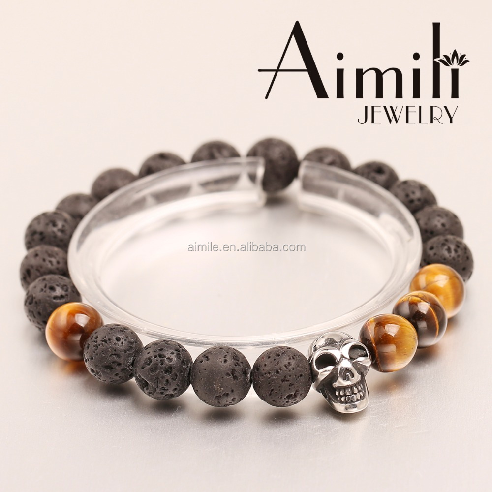 SK14 Hot Sale Mens Skull Bracelets With Lave Stone Beads