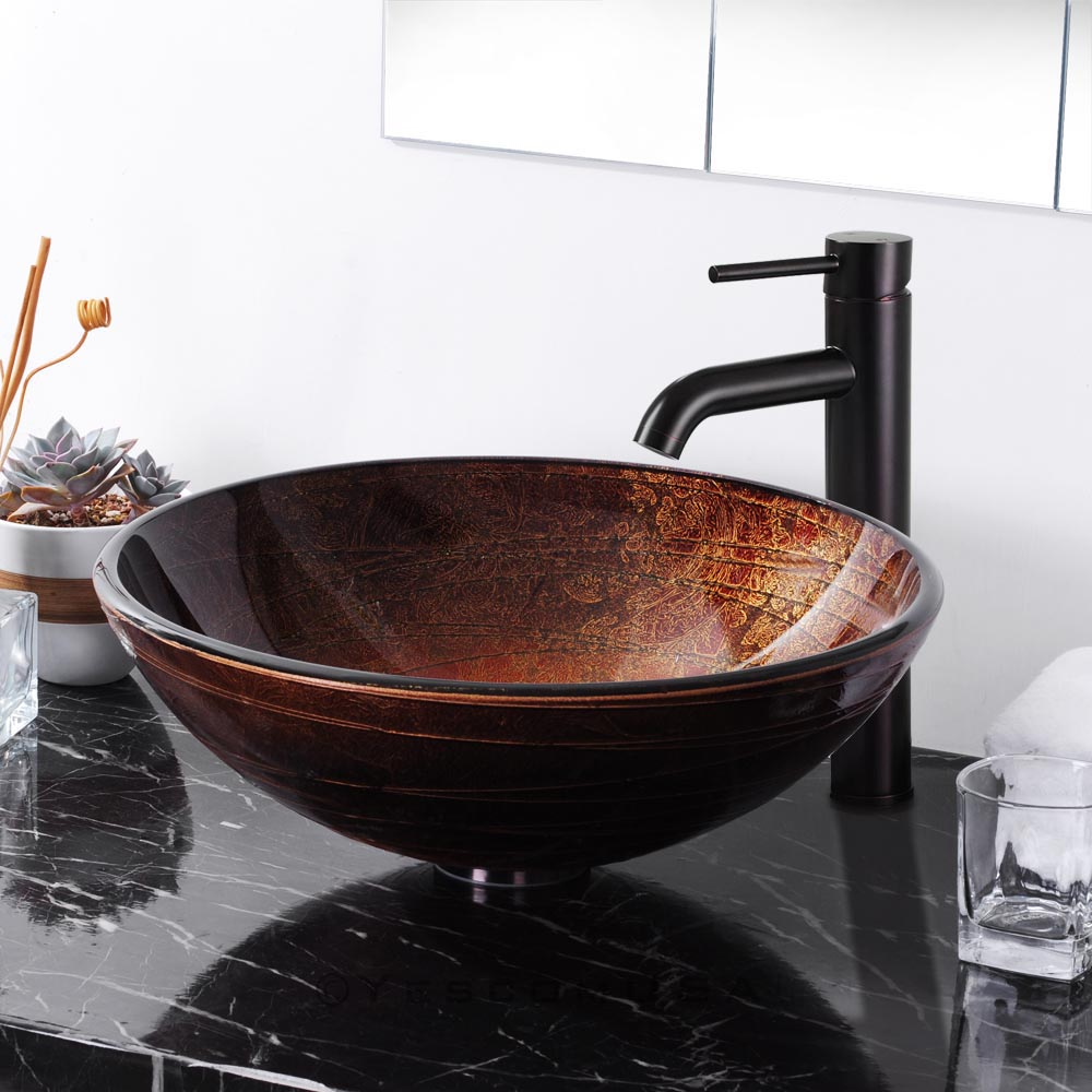 artistic tempered glass vessel sink bathroom lavatory round bowl pattern basin in bathroom sinks. Black Bedroom Furniture Sets. Home Design Ideas