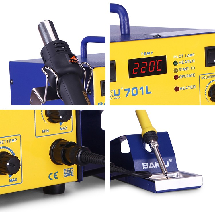 BAKU BK-701L LED Digital BGA hot air gun Station with soldering iron for mobile phone
