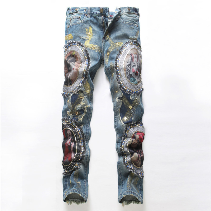 Z9380A 2017 New Collection European Handmade Embroidery Men's Damaged Denim Jeans
