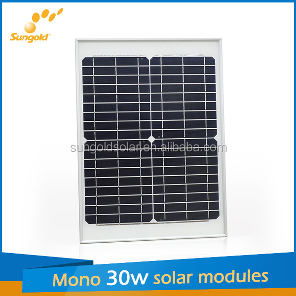30W 18v mono panel solar kit for 12v LED street flash light, laptop, mobile phone