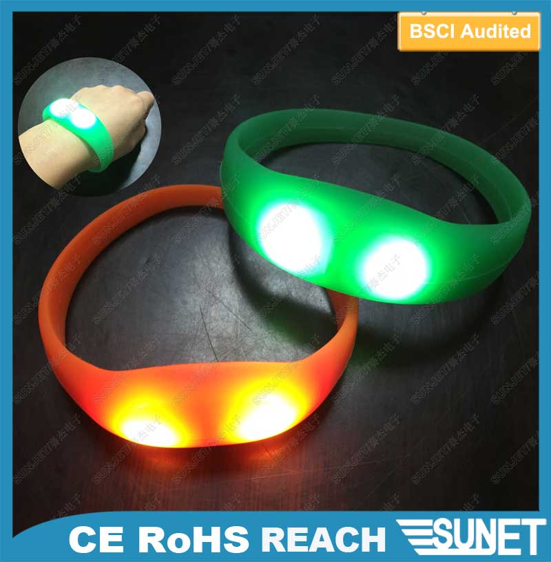 music activated glow led slap wrist bands custom logo