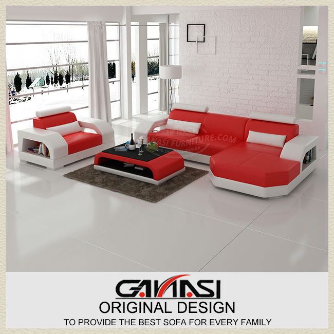 GANASI red leather corner sofas,modern grey leather sectional