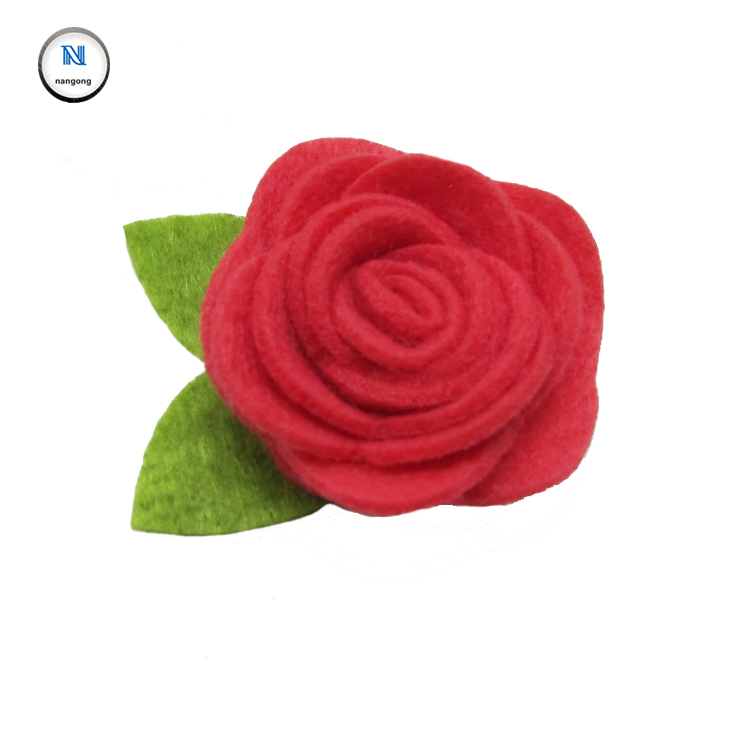 new design beautiful felt fabric rose flower for hat