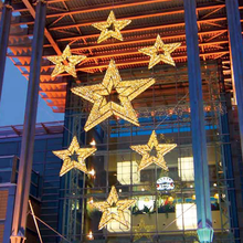 Commerciale di Utilizzare Lo Shopping Di Natale Luci <span class=keywords><strong>3D</strong></span> Gigante LED Stelle Ornamento Illuminato Golden Star