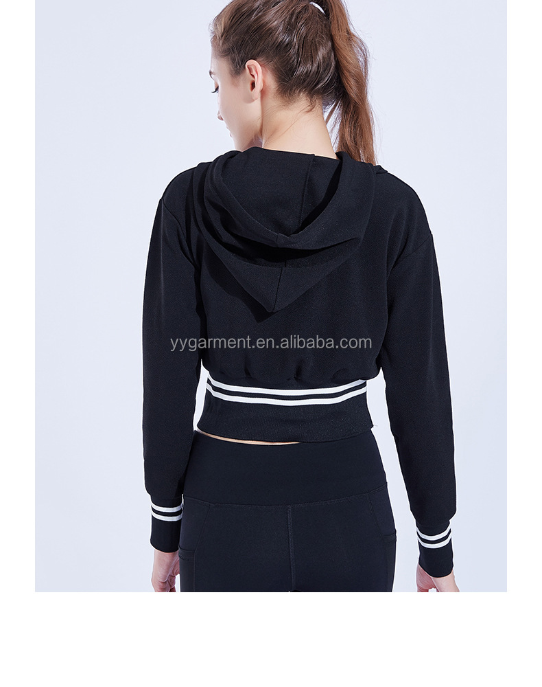 Fitness Clothing Long Sleeves Crop Custom Women Sports Shirts Hoodies