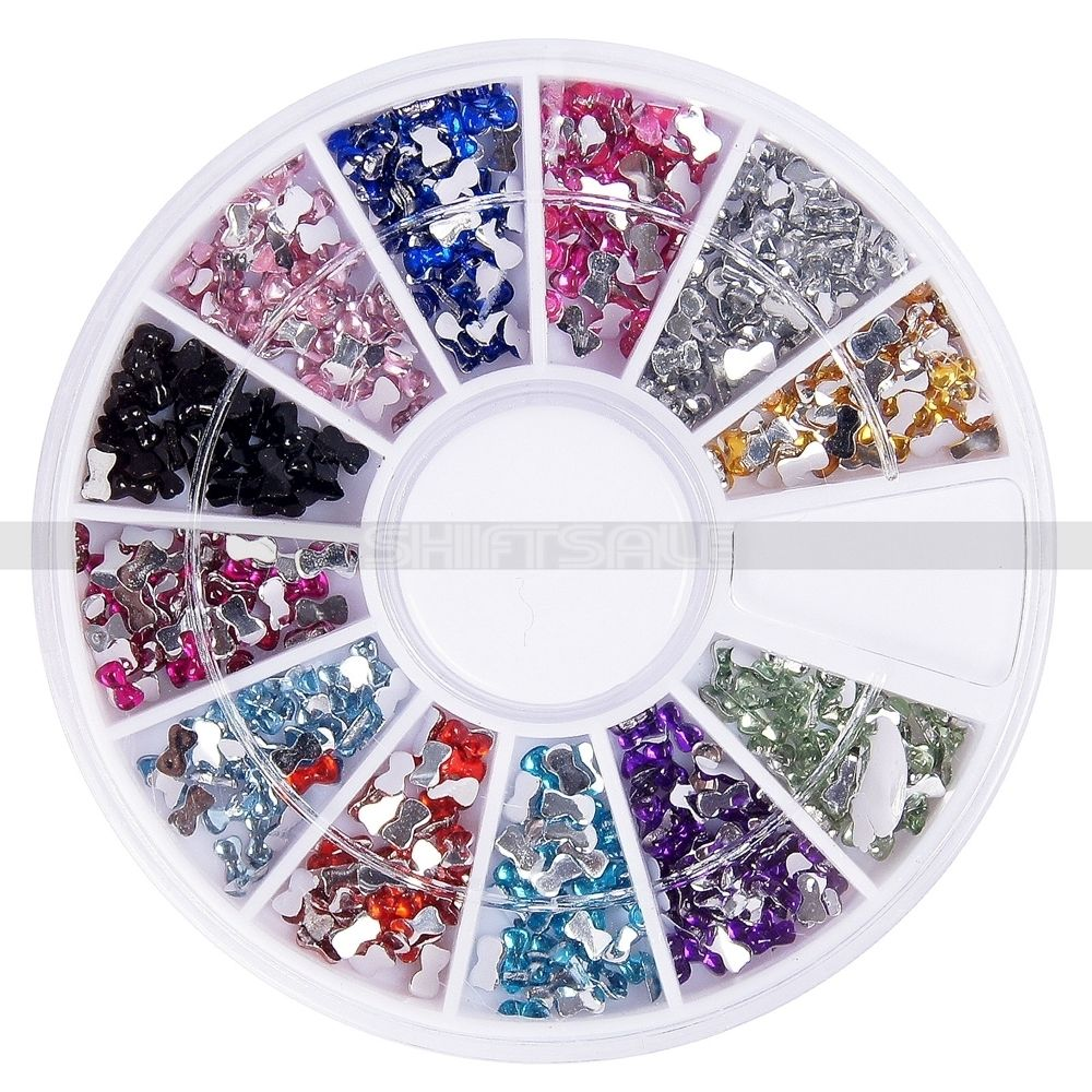 Free Shipping Shinny 12 Colors Bowknot Rhinestone Tips Nail Art DIY Manicure Home Salon Wheel 2015 New Arrival Promotion