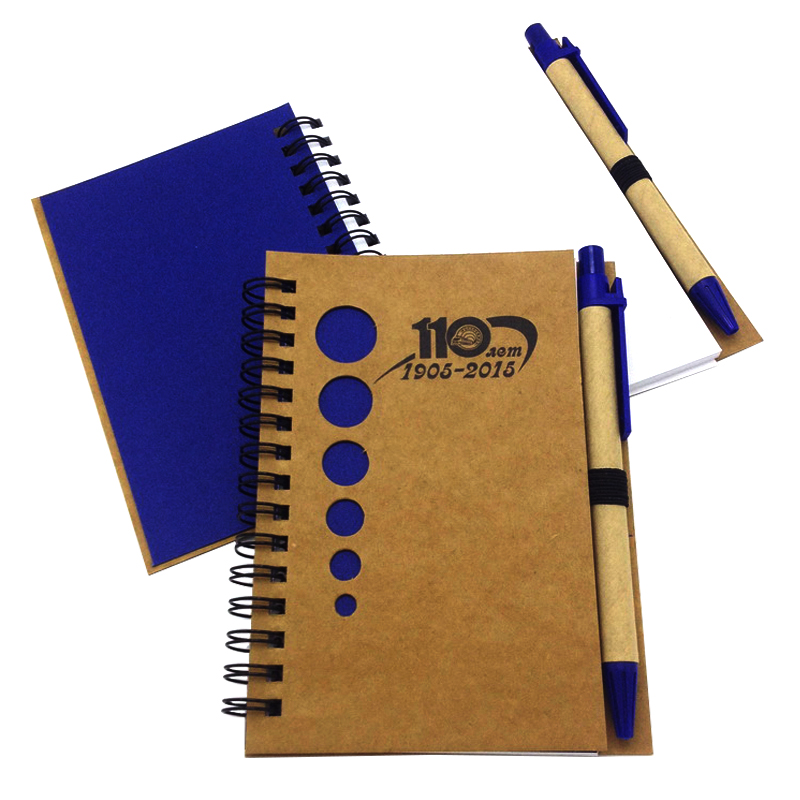 Custom promocional eco friendly papel kraft a4 a5 a6 caderno espiral com pena