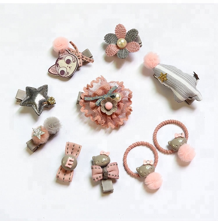 New design 10pieces fabric <strong>hair</strong> <strong>accessories</strong> set