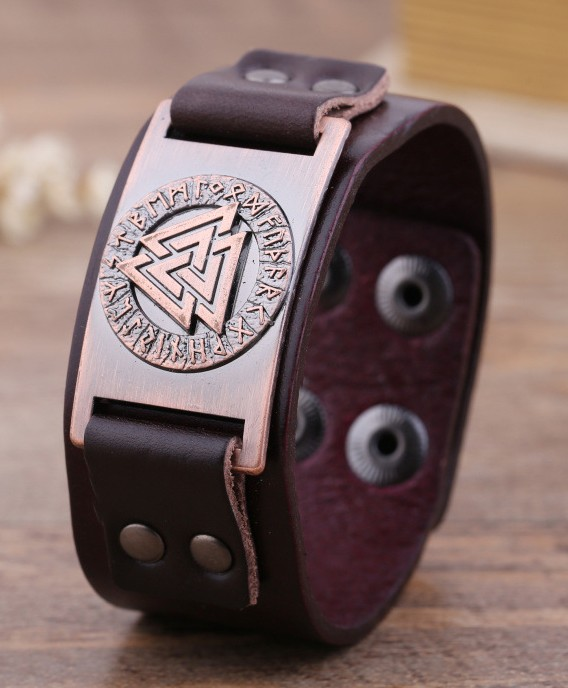 JF001Vintage Cuff Bangles with Odin's Symbol Pattern Religious Brand Name Bracelet Genuine Leather Jewelry for Men
