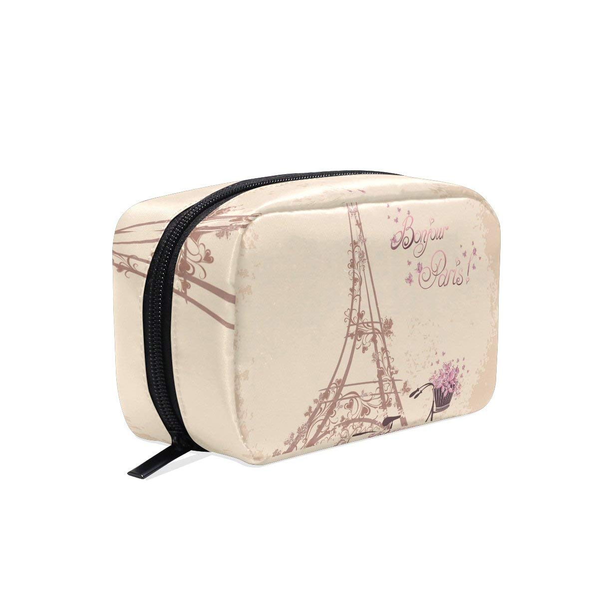MAPOLO Bonjour Paris Tower Eiffel And Bicycle Romantic Handy Cosmetic Pouch Clutch Makeup Bag Organizer Travel Bag