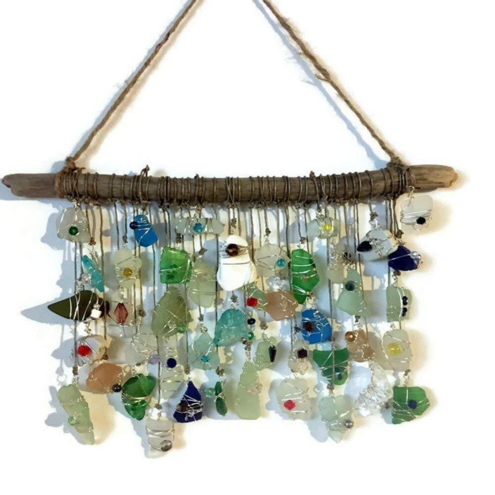 Beach Glass Sun Catcher Crystal Sun Catcher Beach Wedding Decor Lake Erie Art Sea Glass Driftwood Mobile