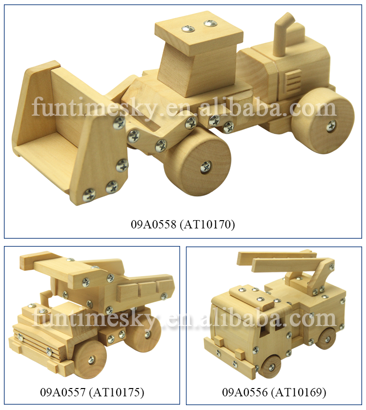 2019 china factory professional wholesale handmade craft kid model antique wooden car toy AT11382