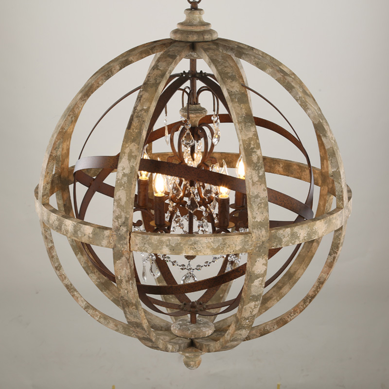 Antique Lighting Globe Wooden Chandelier Led Crystal Pendant Light With Ce