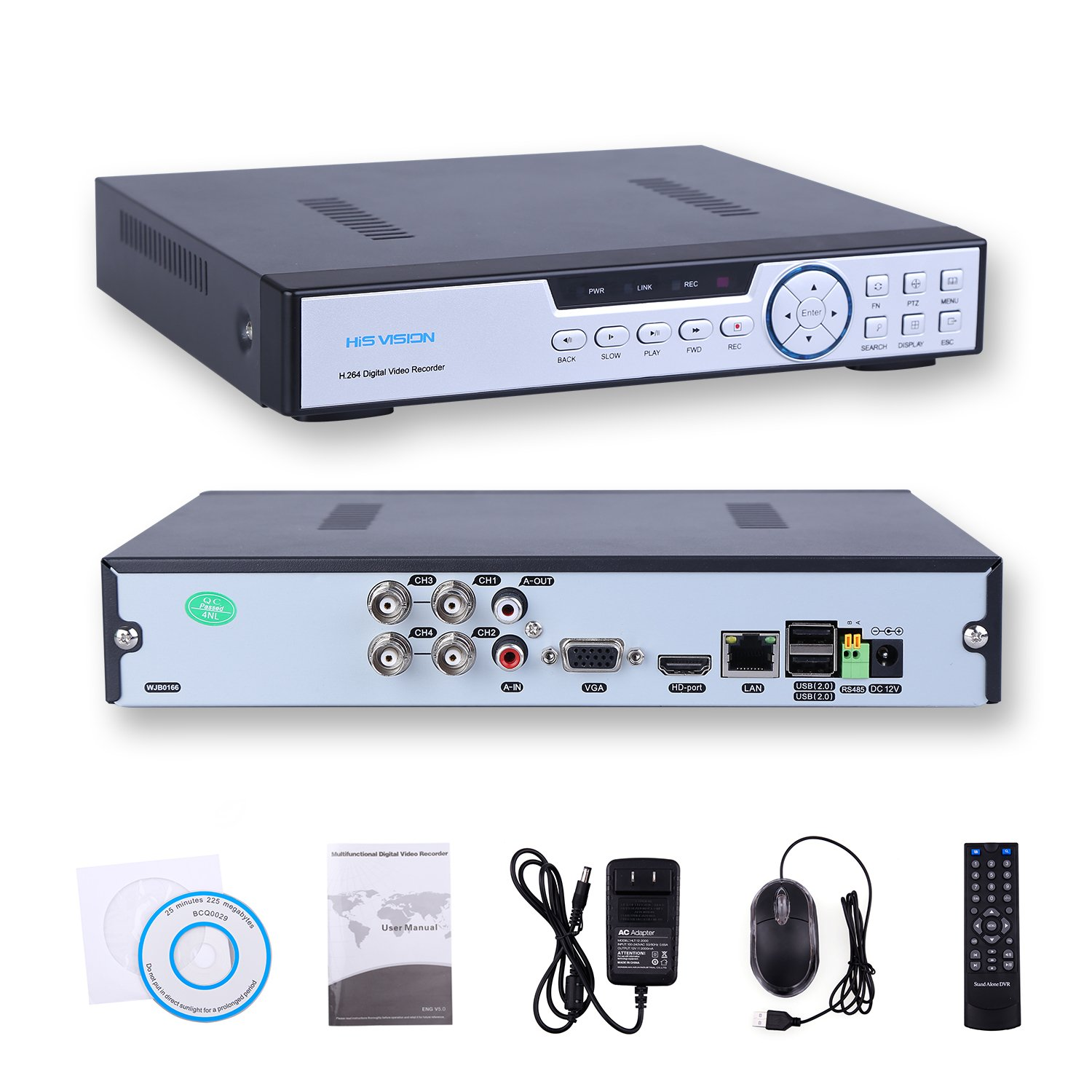 HISVISION 4CH 1080N Hybrid 5-in-1 AHD DVR (1080P NVR+1080N AHD+960H Analog+TVI+CVI) CCTV Quick QR Code Scan/ Easy Remote View /Motion Detection Email Alerts Home Security Surveillance System (No HDD)