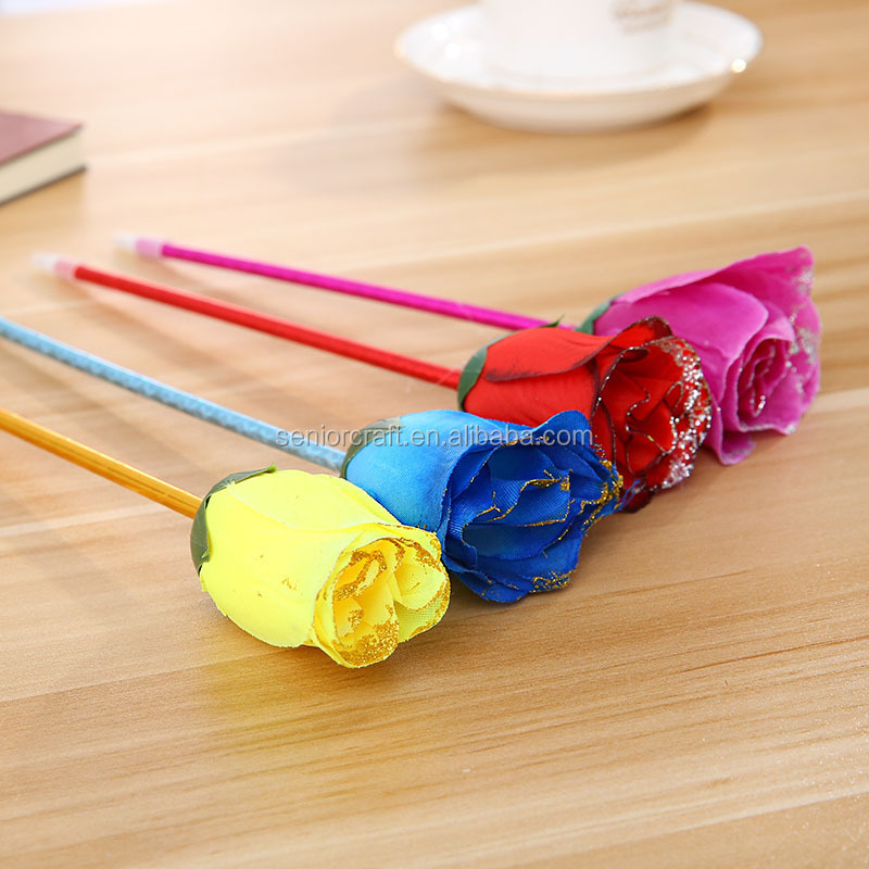 Novelty artificial rose flower ballpen fashion valentines gift 3d bic ballpoint pens printer for school stationery office