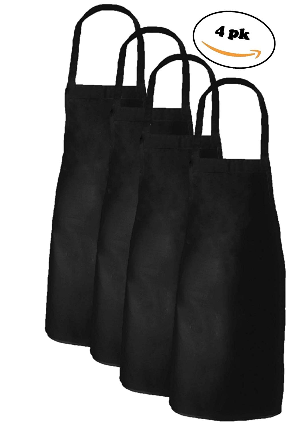 Elaine Karen Adult Men's Women's Unisex Chefs Bistro Adjustable Extra Long Ties, Professional Commercial Grade Bib Apron Black - 4PK