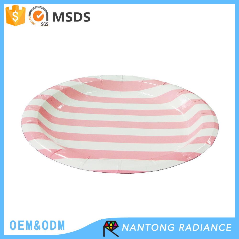 Food Grade 9 inch 23cm Disposable Stripe Paper Plate with Good Service