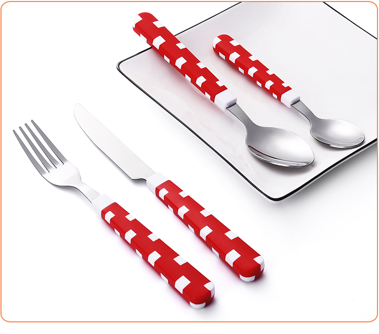 Double Injection China Bone Stainless Steel cutlery Sets With Plastic Handle