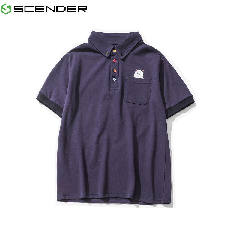 Short sleeve polo shirt for teenagers with cat pattern